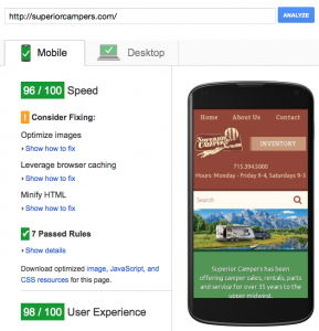 Screenshot of PageSpeed score of 96/100 for SuperiorCampers.com